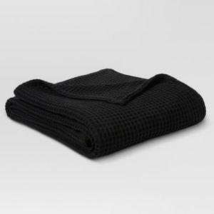 NEW Threshold Dobby Knit Twin Blanket Black Cotton
